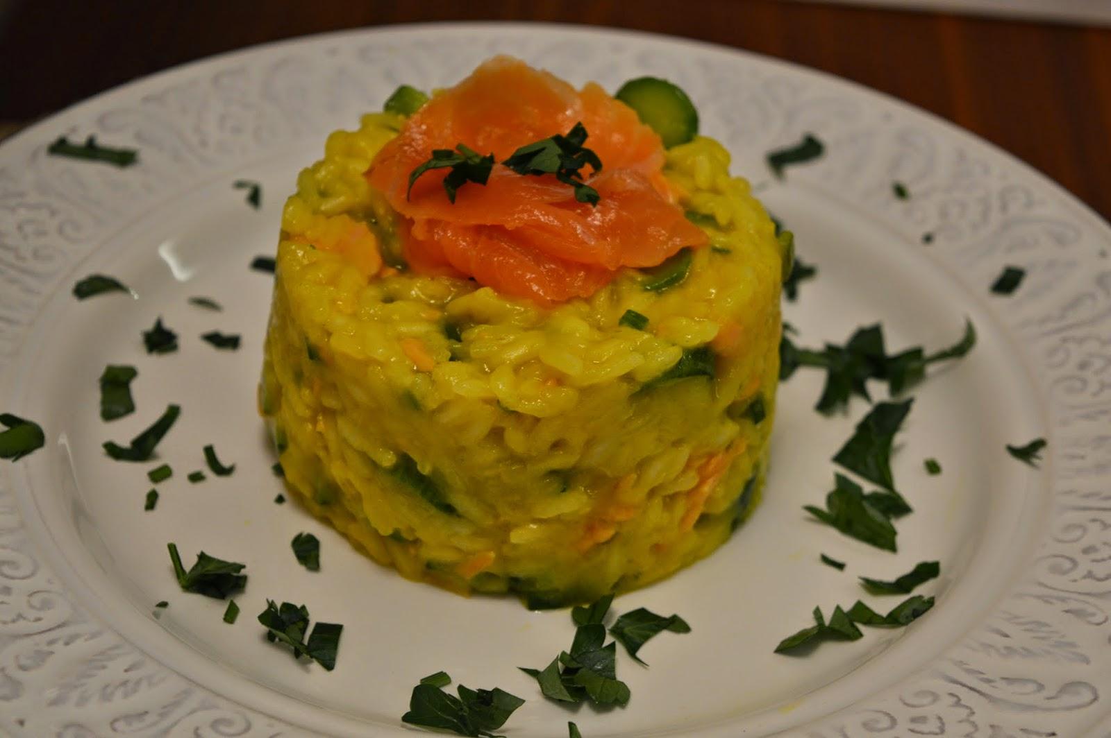 Risotto zucchine e salmone affumicato