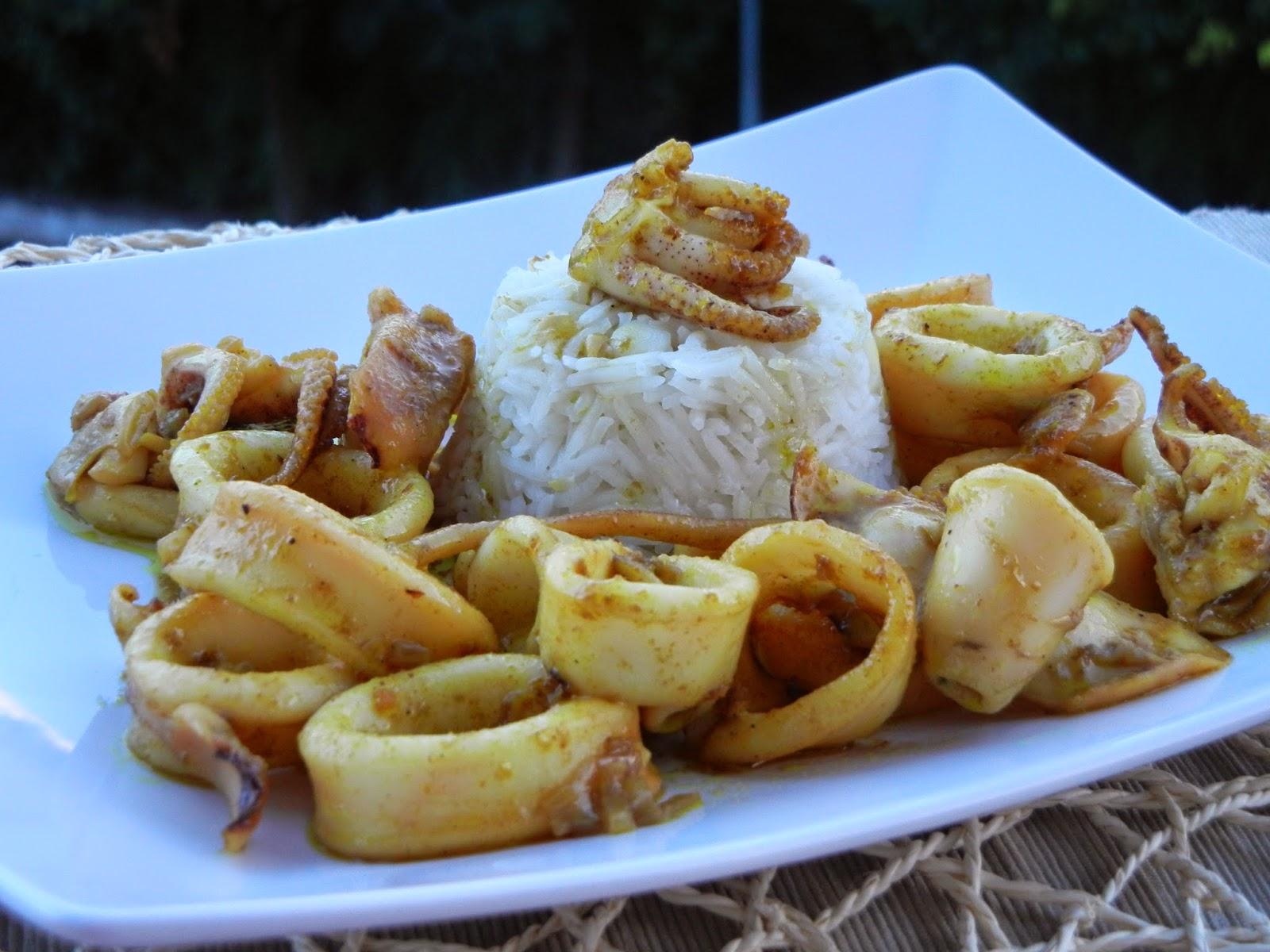 Curry di calamari e riso basmati