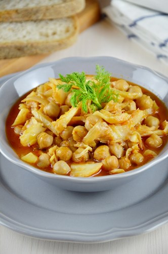 Zuppa di stoccafisso, ceci e finocchi