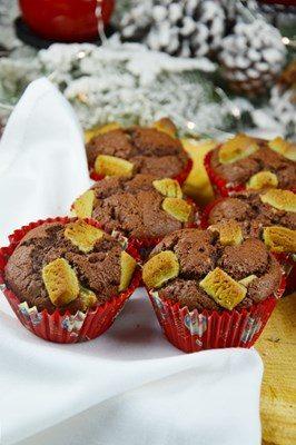 Muffin al cioccolato e marzapane al pistacchio