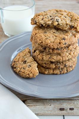 Cookies arachidi, avena e cioccolato